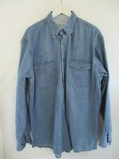 YVES SAINT LAURENT YSL blue denim button pocket chore logo shirt LARGE