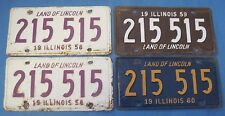 1958-1960 Illinois License Plates all with same number! 215 515