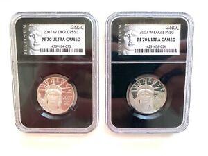 2007 W Eagle Platinum $50 PF 70 Ultra Cameo NGC (2 Coins)