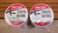 2 Rolls Eagle Claw Premium 15 Lb test fishing line 760 yards Each Roll