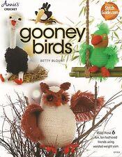 Gooney Birds Crochet Patterns Parrot Ostrich Pelican Toucan Owl + Annie's NEW