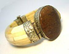 Silver Plate / Bovine Cow Bone / Jasper Clamper Bracelet 110.6 grams
