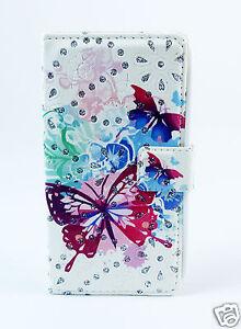 Samsung Galaxy Note 3 Case Flip Etui Tasche Hülle Schmetterlinge Strass bunt