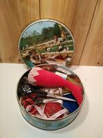 Vintage lot of sewing supplies in old biscuit tin scissors, tapes, notions