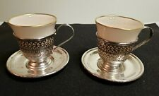 2 ANTIQUE STERLING SILVER DEMITASSE CUPS W SAUCERS & INSERTS
