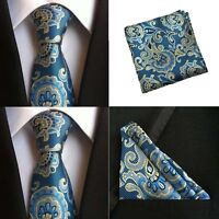 Men Blue Yellow Paisley Silk Tie Pocket Square Handkerchief Set Lot HZBWT082