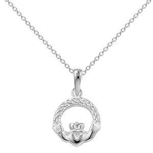 New Silver Celtic Irish Claddagh Pendant and Chain Jewellery