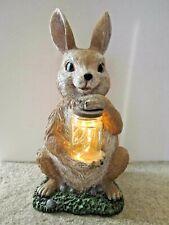 """Bunny Rabbit ~ Brown ~ 12"""" Tall ~ Light-up Jar Yard Art Garden Statue Sculpture"""
