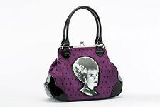 Rock Rebel Bride of Frankenstein Purple Lace Kiss Lock Purse