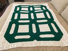Handmade Afghan / Throw Blanket - Designer Collection - Ivory & Green Design