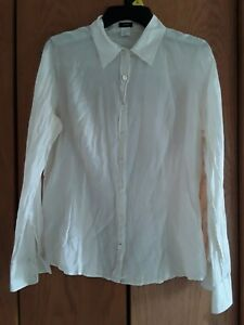 J. Crew Size 12 Thin Light Weight Ivory Long Sleeve Button Down Shirt