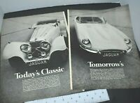 1968 Jaguar XKE 1936 SS 100 Sports Car Today's Classic 2 Page Vintage Print Ad