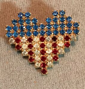 DOROTHY BAUER heart flag #4 pin in Swarovsk Austrian Crystal red, clear, blue g