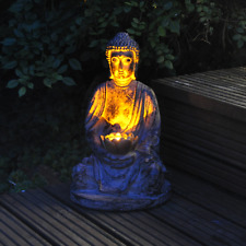 Sitting Solar Buddha Garden Light Solar Powered Outdoor Patio Light FAST DEL