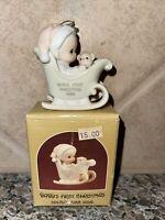 "VTG 1988 ENESCO PRECIOUS MOMENTS 2.75"" FIGURINE BABY'S 1ST CHRI... #115282 T2690"