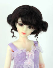 """1/4 1/3 bjd 7-8"""" msd doll wig black color curly real mohair dollfie W-JD406M2M"""