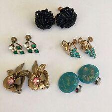 Vintage Earrings Lot Clip On Screwback Button Beaded Rhinestone Blue Black Five