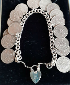 VINTAGE SILVER CHARM BRACELET with 16 LUCKY SIXPENCES 1940s & 50s