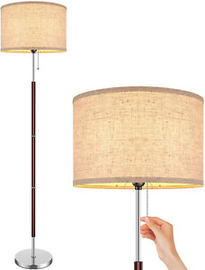 Modern Floor Lamp Stand Up Contemporary Office Lighting Beige Drum Fabric Shade