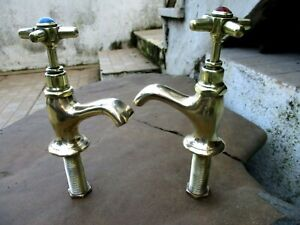 "Vintage Brass Beautiful Shape Pair Tap Faucet 1/2"" Wash Basin Sink Hot & Cold"