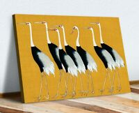 MUSTARD CANVAS WALL ART PRINT ARTWORK ORIENTAL CRANES JAPANESE