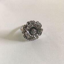 Vintage Marcasite Flower Sterling Silver Ring size 5.5