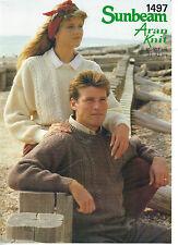 Sunbeam Aran PATTERN his & hers sweaters w/ diamond and moss-stitch panels 1497