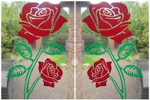 SET OF ETCHED OR COLOUR ROSES, STICKER. PATIO DOOR, WINDOW, SHOWER DECAL 280mm