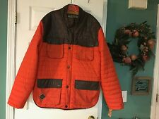 Men's WINCHESTER Orange & Faux Leather & NYLON Coat Size 3XL