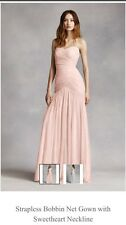 NWT White By Vera Wang Blush Pink Strapless Wedding/Bridesmaid Dress Size 6