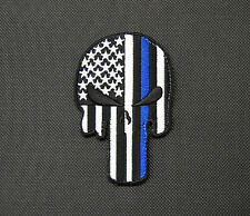 Punisher Skull Thin Blue Line USA Flag Police Morale SWAT Glow GITD Patch Hook