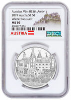 2019 Austria 825th Austrian Mint Wiener Neustadt 1 oz Silver NGC MS70 SKU57994