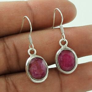 Oval Shape Ruby Gemstone Earrings 925 Sterling Silver HANDMADE Jewelry K49