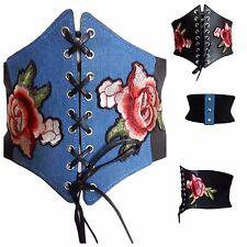 Ladies Belt Womens Waist Cinch Corset Fashion Black Denim Floral 10 12 14 16