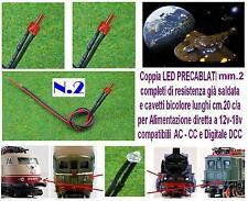 N.2 MICRO LED 12V DC e DCC mm.2 ROSSI CABLATI per MODELLISMO e LUCI LOCOMOTORI