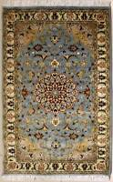 Rugstc 3x5 Senneh Pak Persian Blue Area Rug, Hand-Knotted,Floral with Silk/Wool