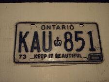 1973 ONTARIO CANADA License Plate KAU 851 Keep it beautiful