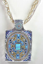 Statement Simulated Opal Pendant  5 Chain Necklace Sterling  Vermeil  Wedding