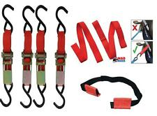 COMPLETE MOTORCYCLE / MOTORBIKE TIE DOWN SYSTEM, EASY STRAPS & RATCHET STRAPS