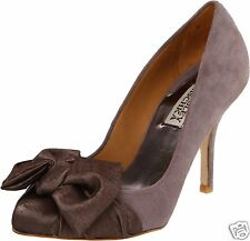 NIB Badgley Mischka SYDNEY suede satin BOW pumps heels shoes  taupe size 7