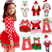 Xmas Toddler Kids Baby Girls Christmas Dress Princess Party Romper Outfits Sets