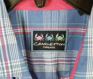 New Mens Charleston Threads Shirt Cotton Button Long Sleeve Plaid Sz Large
