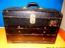 Union Steel Machinist Chest BLACK Tool Box  LeRoy NY USA  3 Drawers