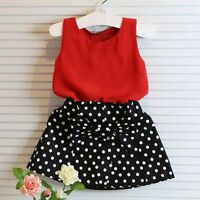 Summer 2pcs/set Toddler Kids Baby Girls Clothes T-shirt Tops+Skirts Outfit 2-7T