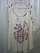 Women's Lucky Brand Embroidered Tank Peacock  2X
