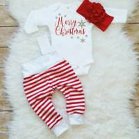 3PCS Newborn Baby Kids Christmas Romper Long Pants Headband Outfits Clothes Set