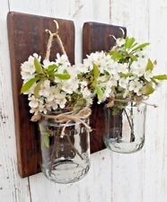Pair of rustic wall mounted Jacobean Glass Mason jar candle flower holder gift