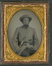 Photo Civil War Confederate Solder In Uniform With Sword and Two Guns