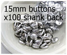 15mm self cover metal BUTTONS SHANK backs (sz 24) 100 QTY + FREE instructions