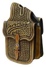 Showman intrecciate Tooled Western in Pelle Borsa Corno! NUOVO Horse Tack!!!